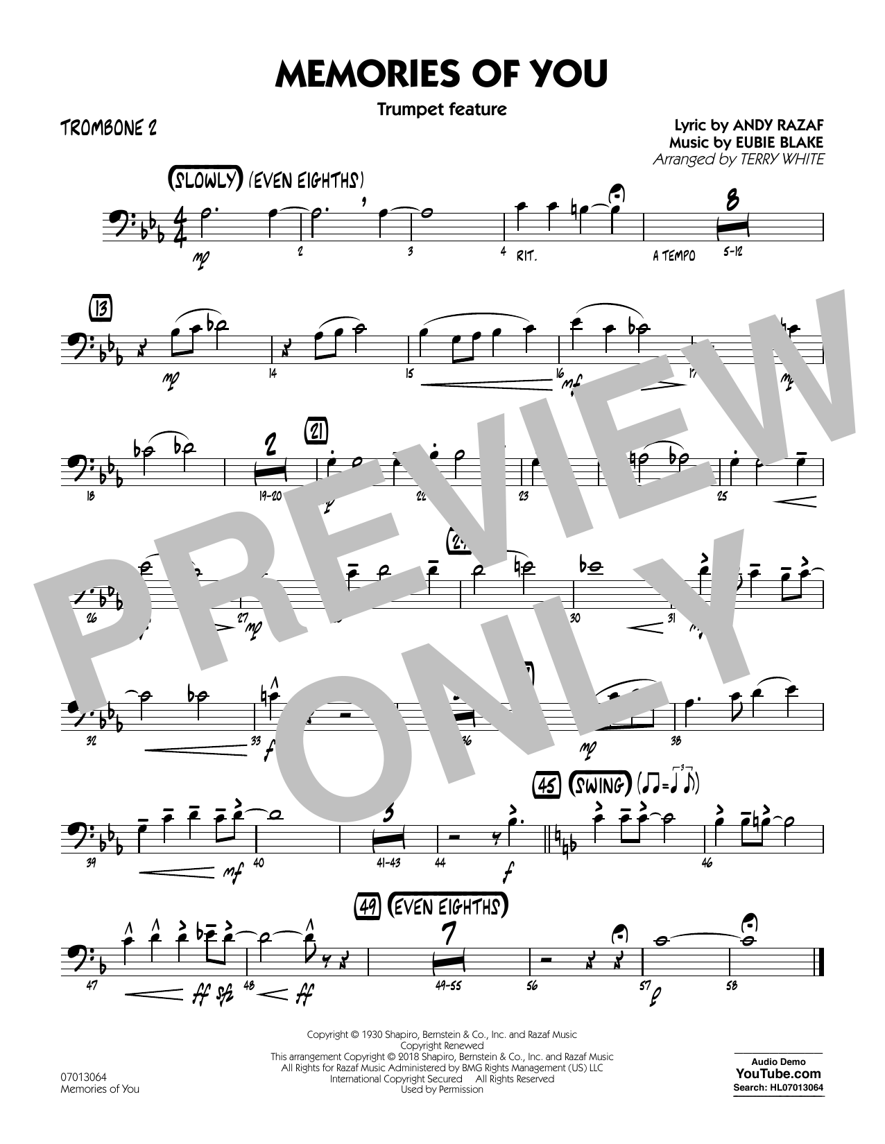 Terry White Memories of You (Trumpet Feature) - Trombone 2 sheet music notes and chords. Download Printable PDF.