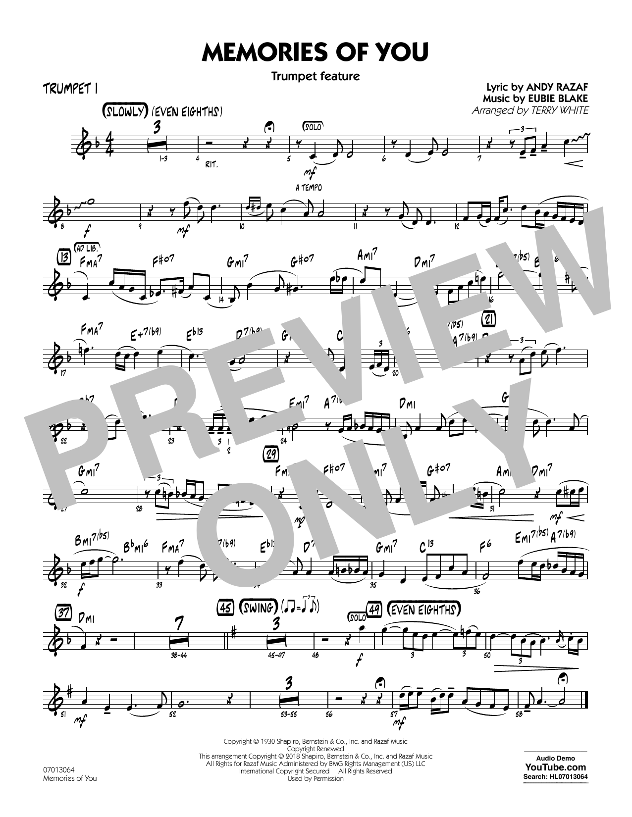 Terry White Memories of You (Trumpet Feature) - Trumpet 1 sheet music notes and chords. Download Printable PDF.