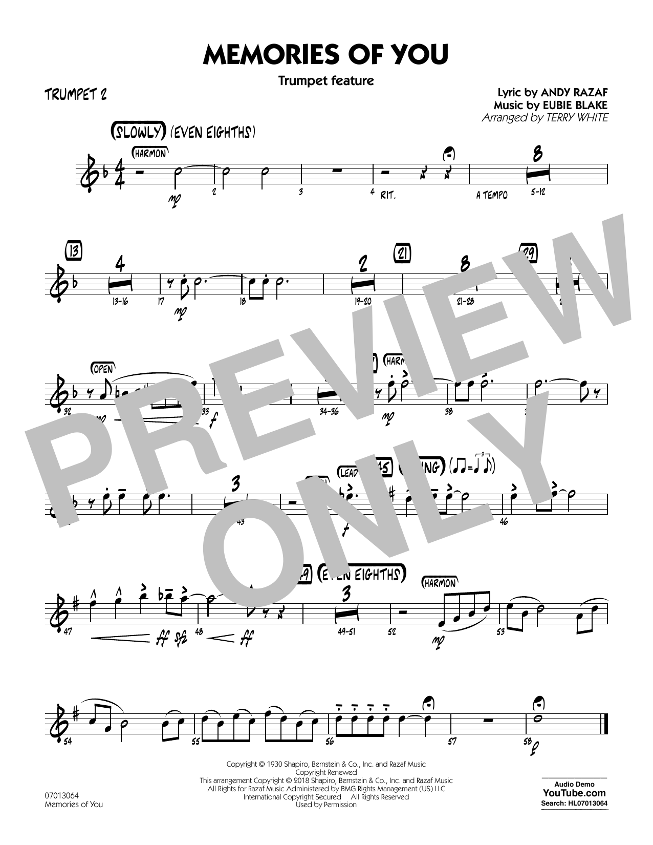 Terry White Memories of You (Trumpet Feature) - Trumpet 2 sheet music notes and chords. Download Printable PDF.