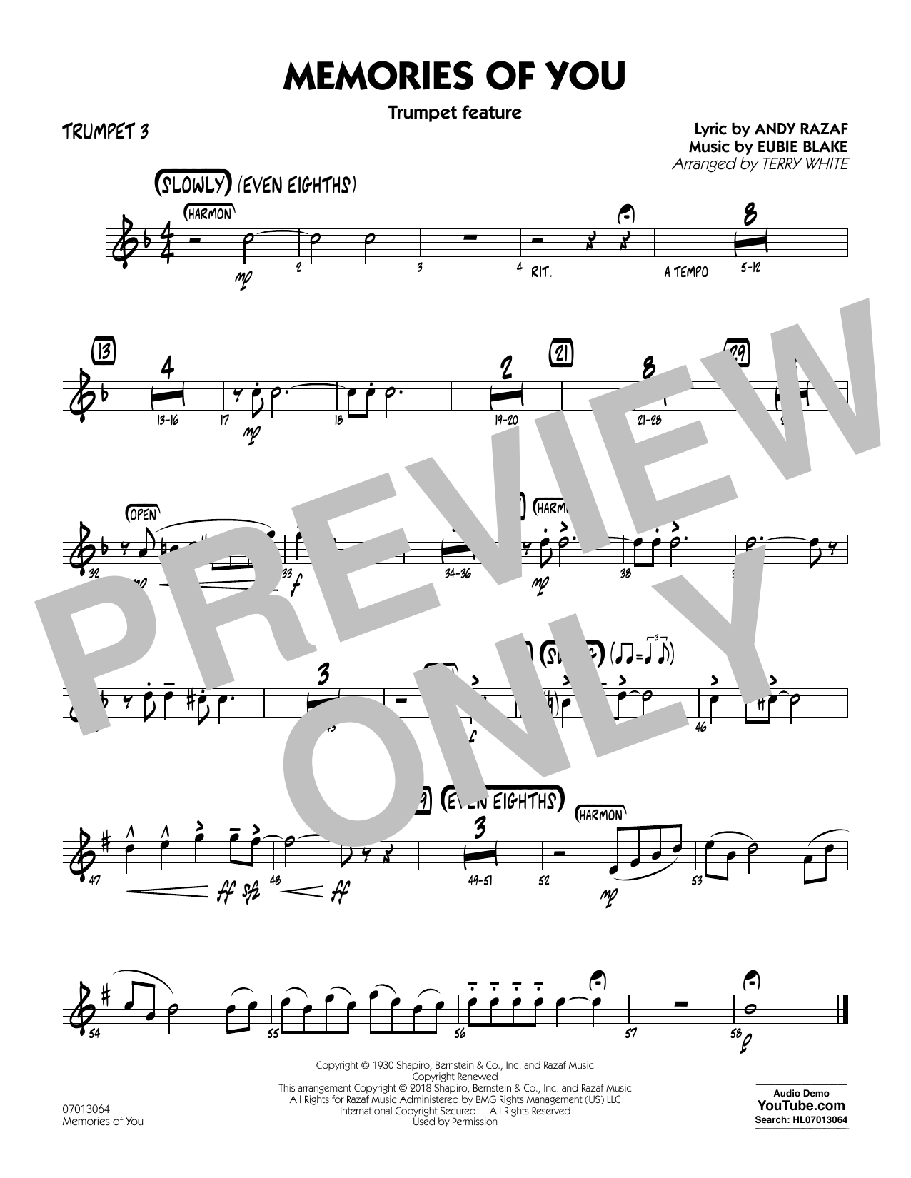Terry White Memories of You (Trumpet Feature) - Trumpet 3 sheet music notes and chords. Download Printable PDF.