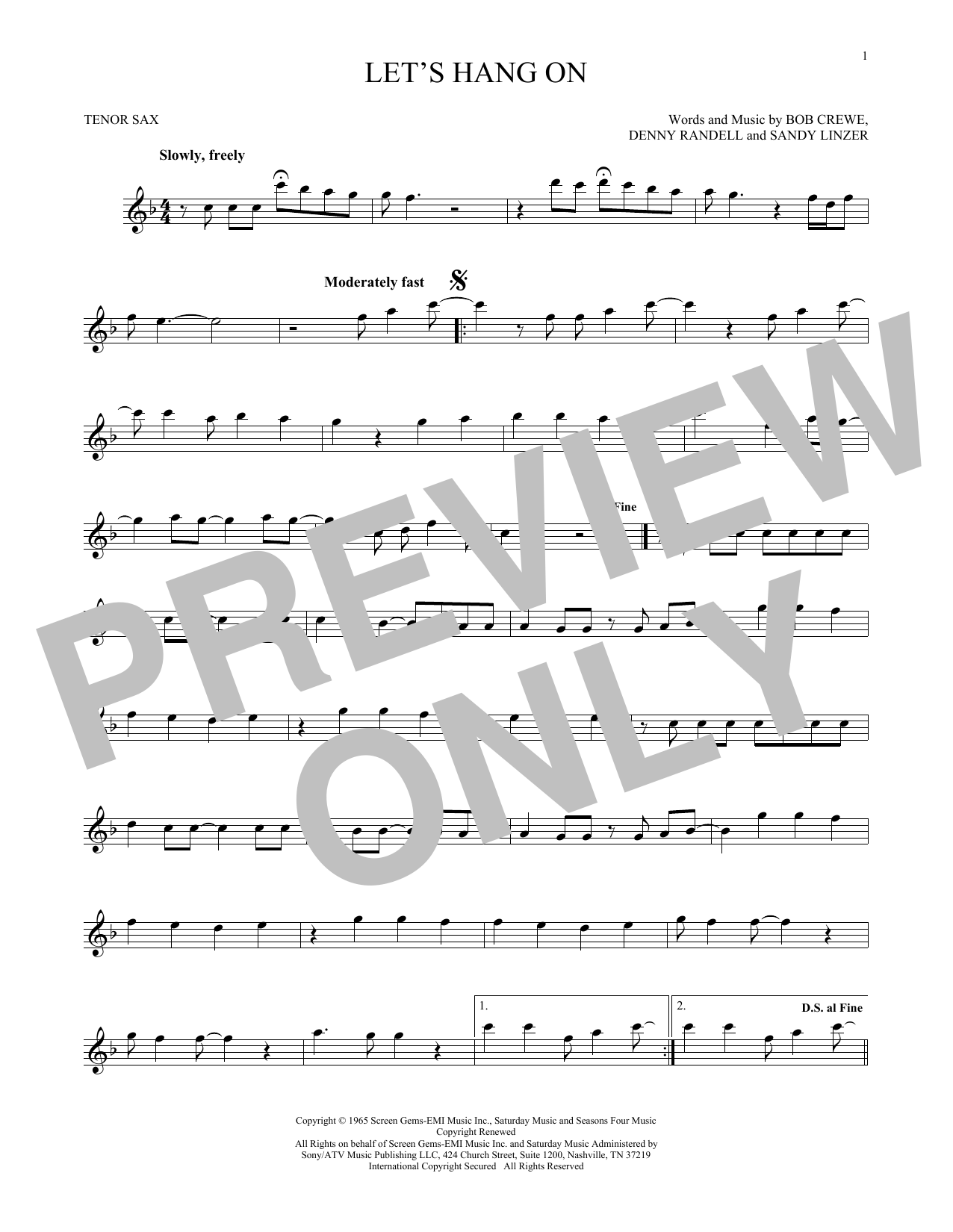 The 4 Seasons Let's Hang On sheet music notes and chords. Download Printable PDF.