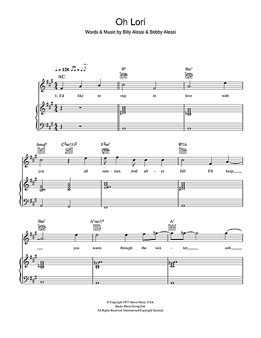 The Alessi Brothers Oh Lori sheet music notes and chords. Download Printable PDF.
