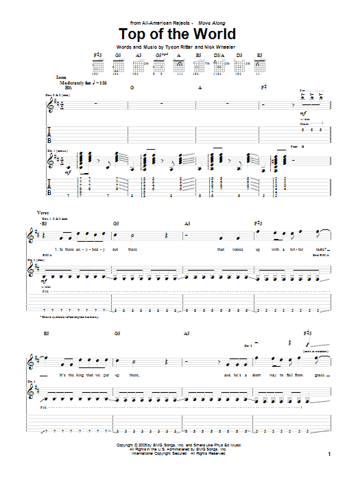 The All-American Rejects Top Of The World sheet music notes and chords. Download Printable PDF.