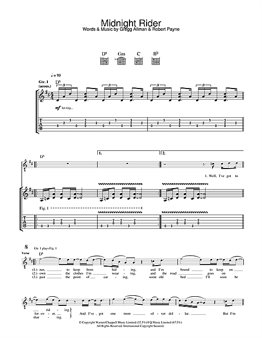 The Allman Brothers Band Midnight Rider sheet music notes and chords. Download Printable PDF.