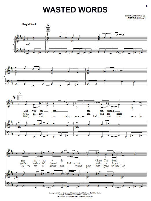 The Allman Brothers Band Wasted Words sheet music notes and chords