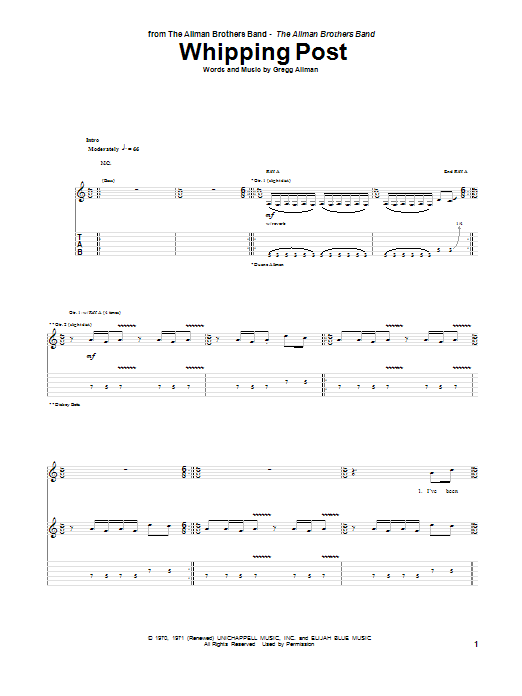 The Allman Brothers Band Whipping Post sheet music notes and chords