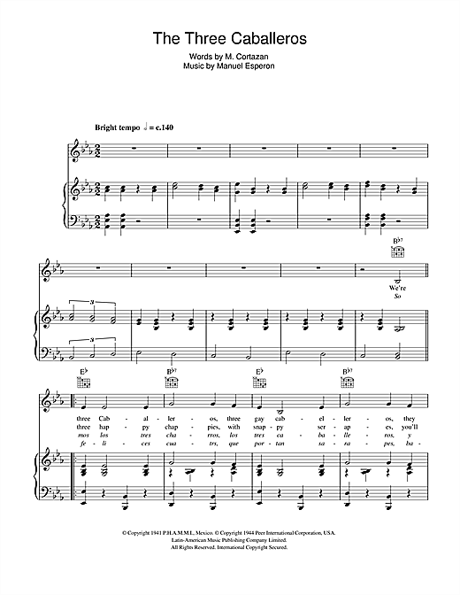 The Andrews Sisters The Three Caballeros sheet music notes and chords. Download Printable PDF.