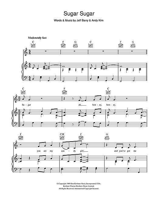 The Archies Sugar, Sugar sheet music notes and chords. Download Printable PDF.