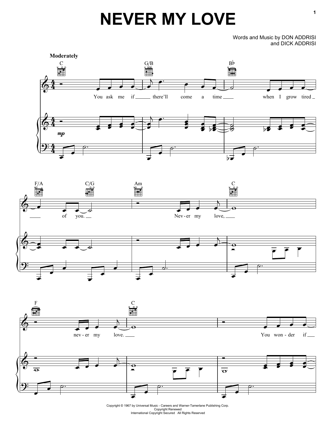 The Association Never My Love sheet music notes and chords. Download Printable PDF.
