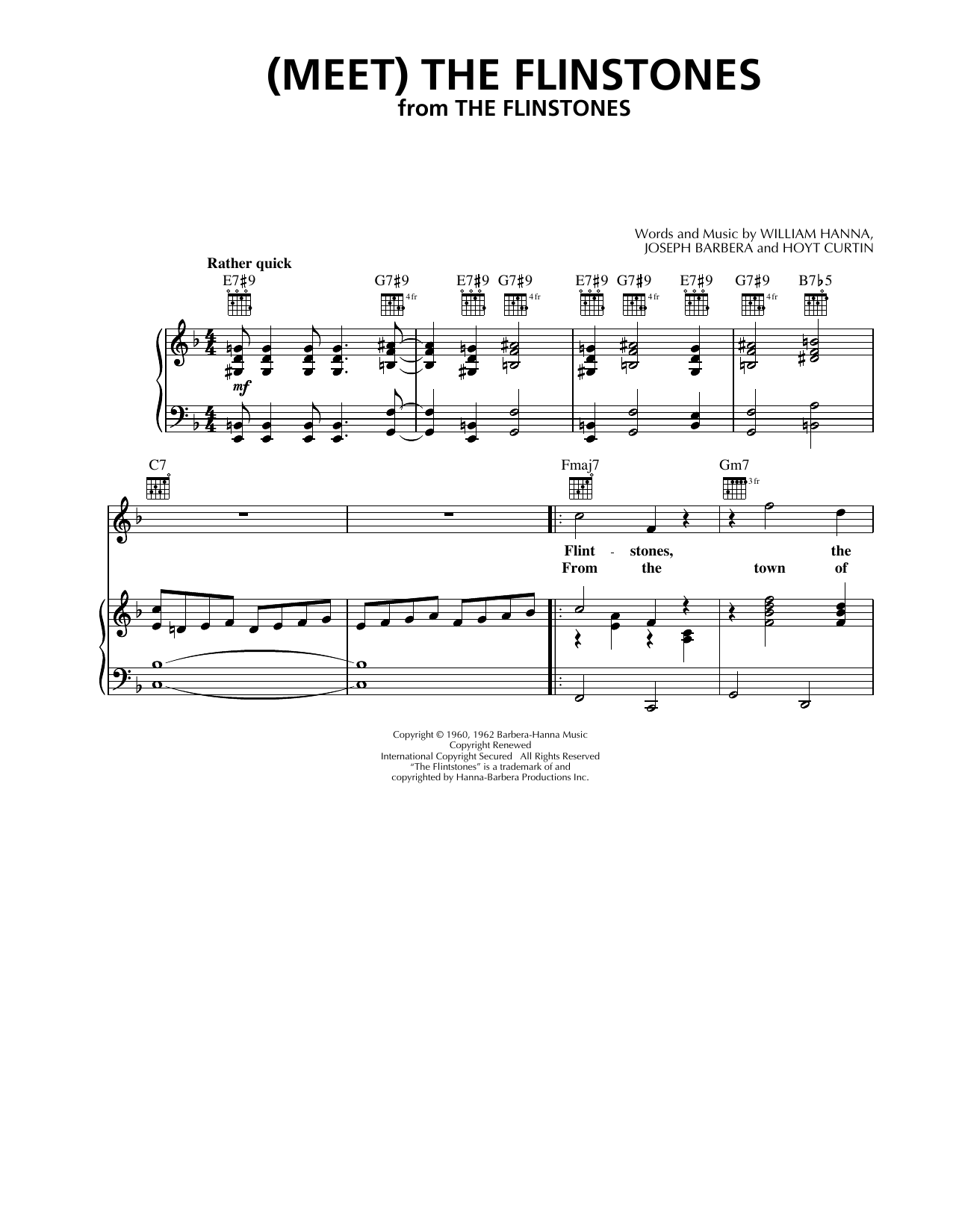The B-52's (Meet) The Flintstones sheet music notes and chords. Download Printable PDF.