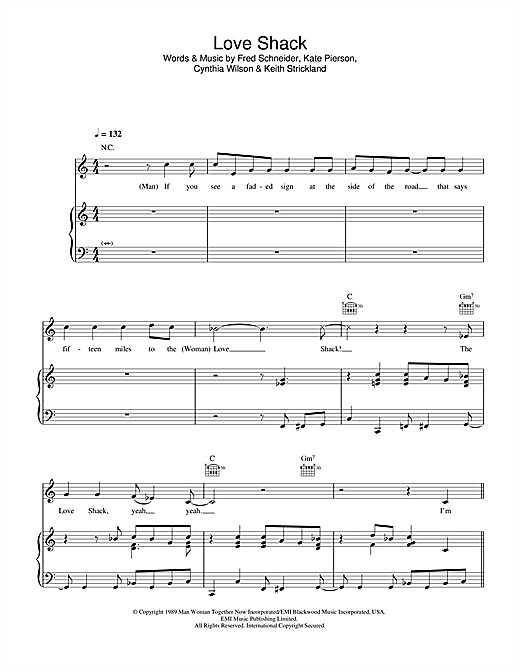 The B-52's Love Shack sheet music notes and chords. Download Printable PDF.