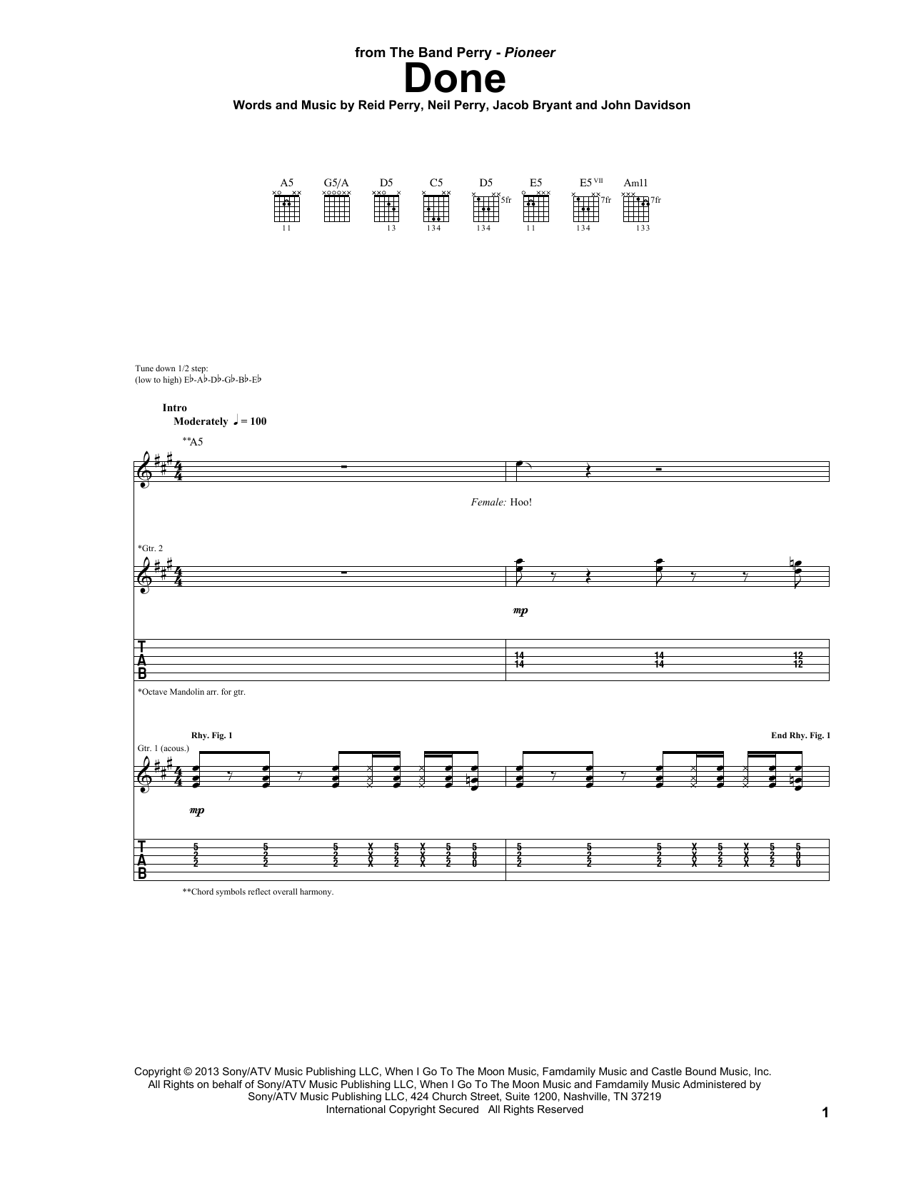The Band Perry Done sheet music notes and chords. Download Printable PDF.