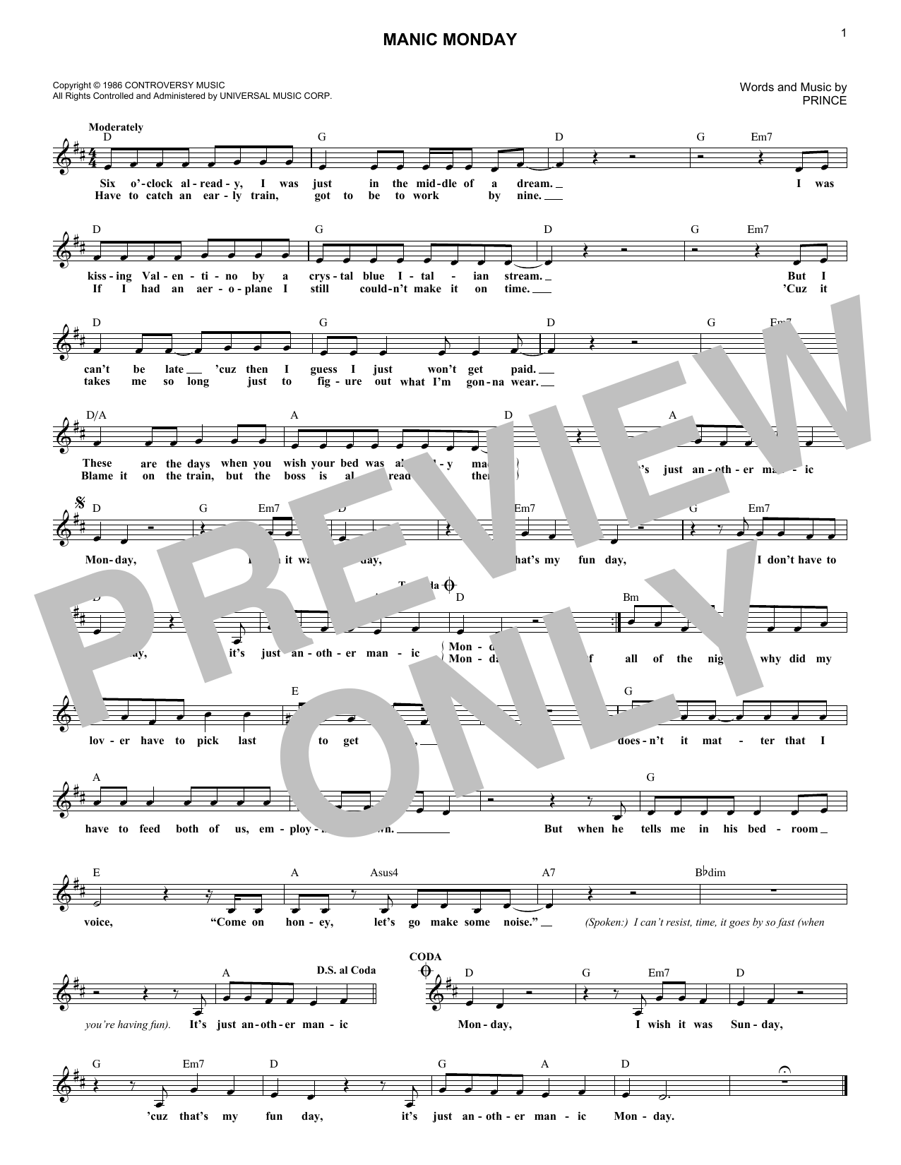 The Bangles Manic Monday sheet music notes and chords. Download Printable PDF.