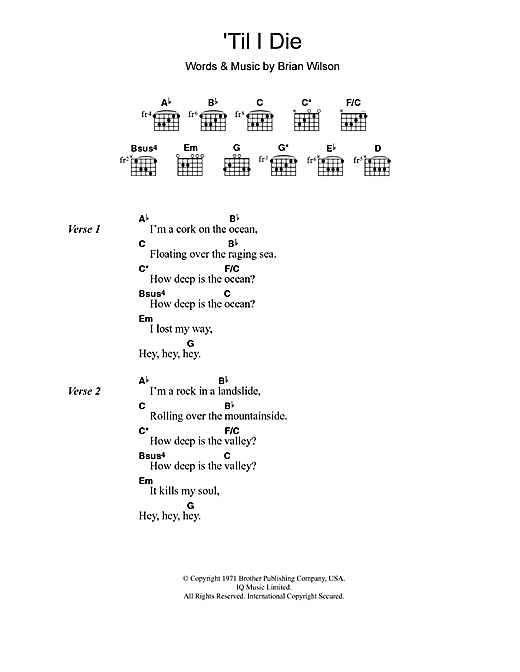 The Beach Boys 'Til I Die sheet music notes and chords