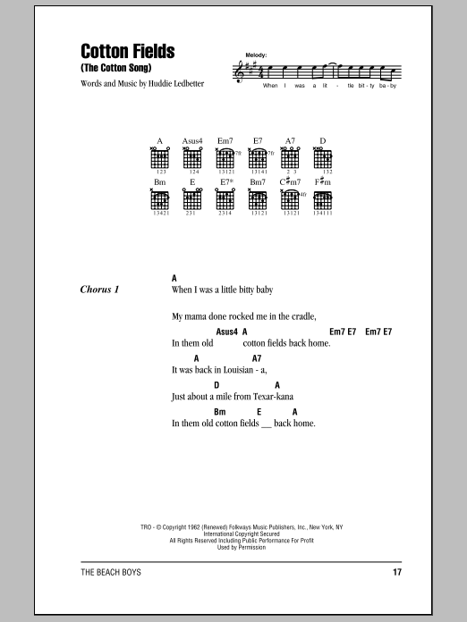 The Beach Boys Cotton Fields (The Cotton Song) sheet music notes and chords. Download Printable PDF.