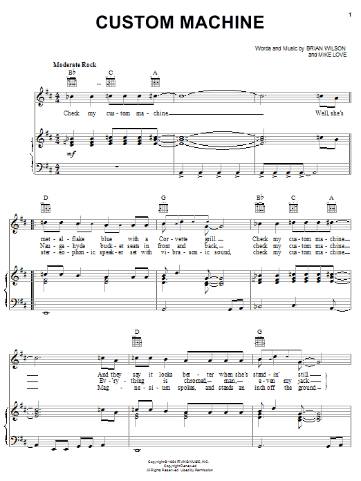 The Beach Boys Custom Machine sheet music notes and chords. Download Printable PDF.