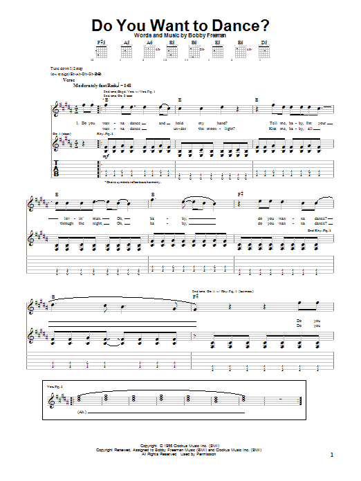 The Beach Boys Do You Want To Dance? sheet music notes and chords. Download Printable PDF.