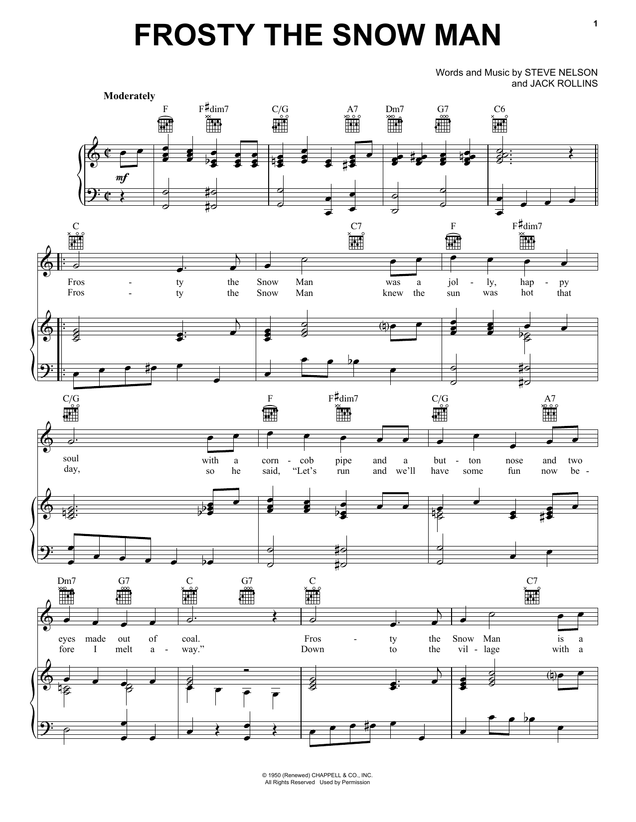The Beach Boys Frosty The Snow Man sheet music notes and chords
