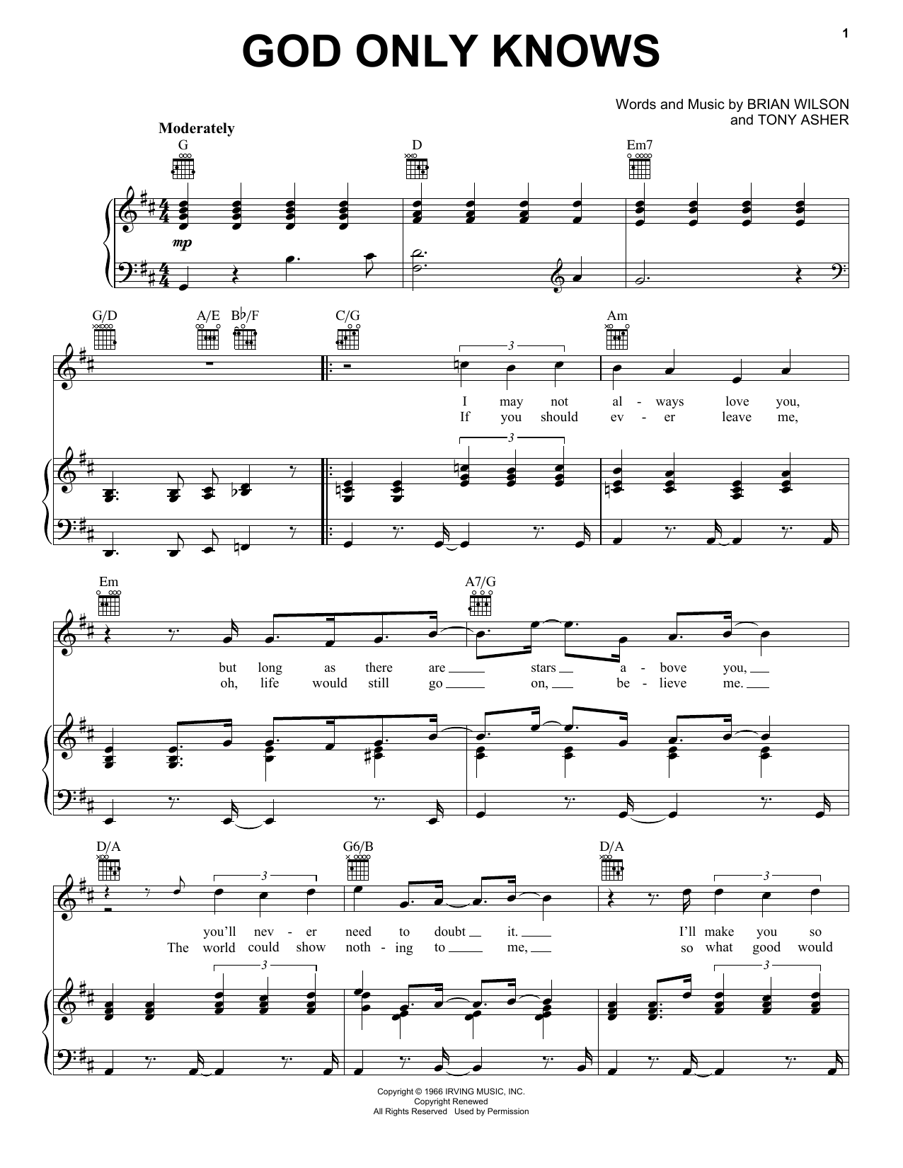 The Beach Boys God Only Knows sheet music notes and chords