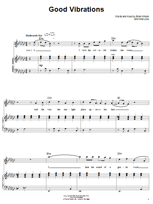 The Beach Boys Good Vibrations sheet music notes and chords. Download Printable PDF.