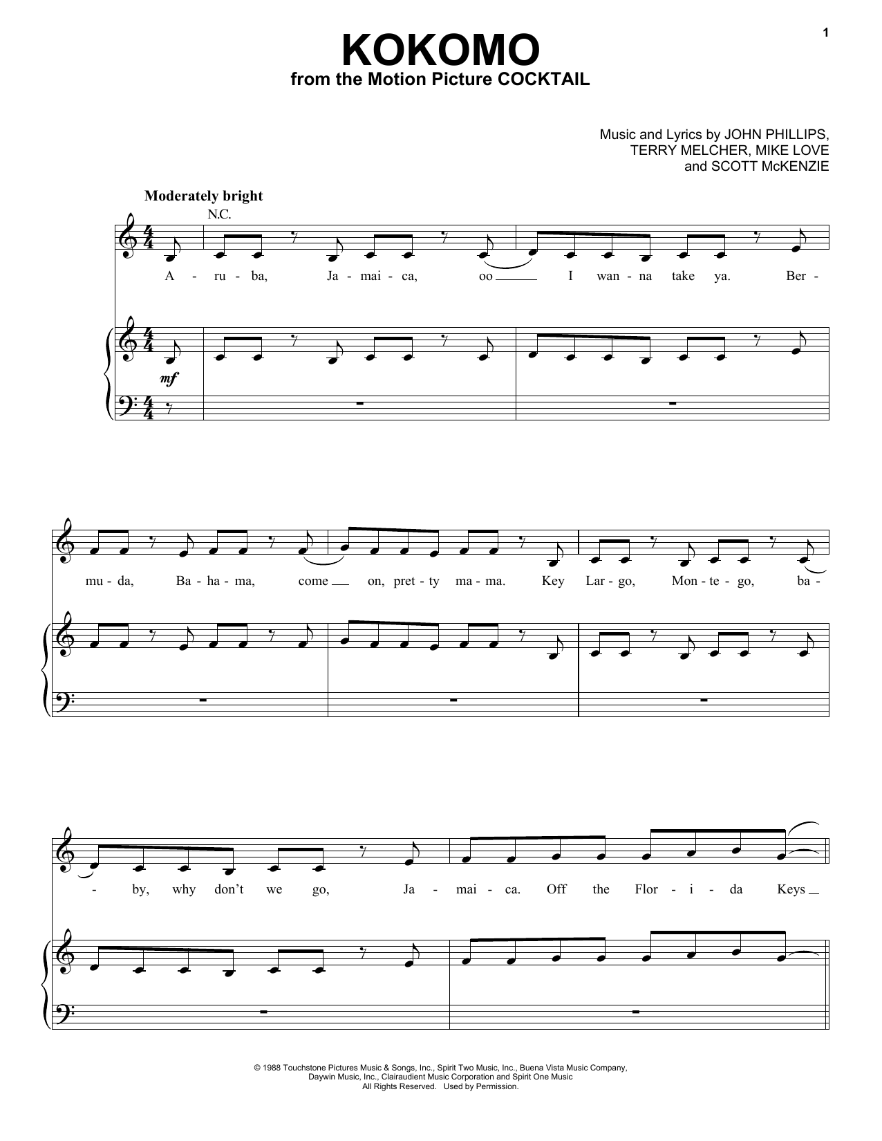 The Beach Boys Kokomo sheet music notes and chords