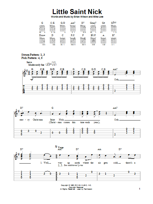 The Beach Boys Little Saint Nick sheet music notes and chords. Download Printable PDF.