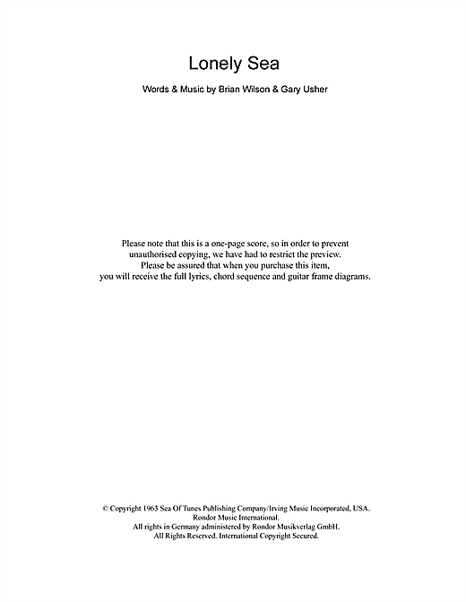 The Beach Boys Lonely Sea sheet music notes and chords. Download Printable PDF.
