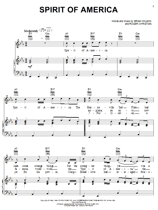 The Beach Boys Spirit Of America sheet music notes and chords. Download Printable PDF.