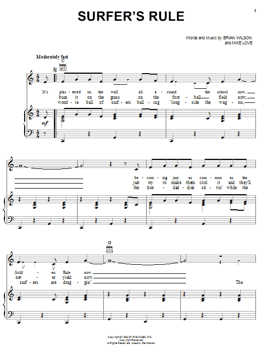 The Beach Boys Surfer's Rule sheet music notes and chords