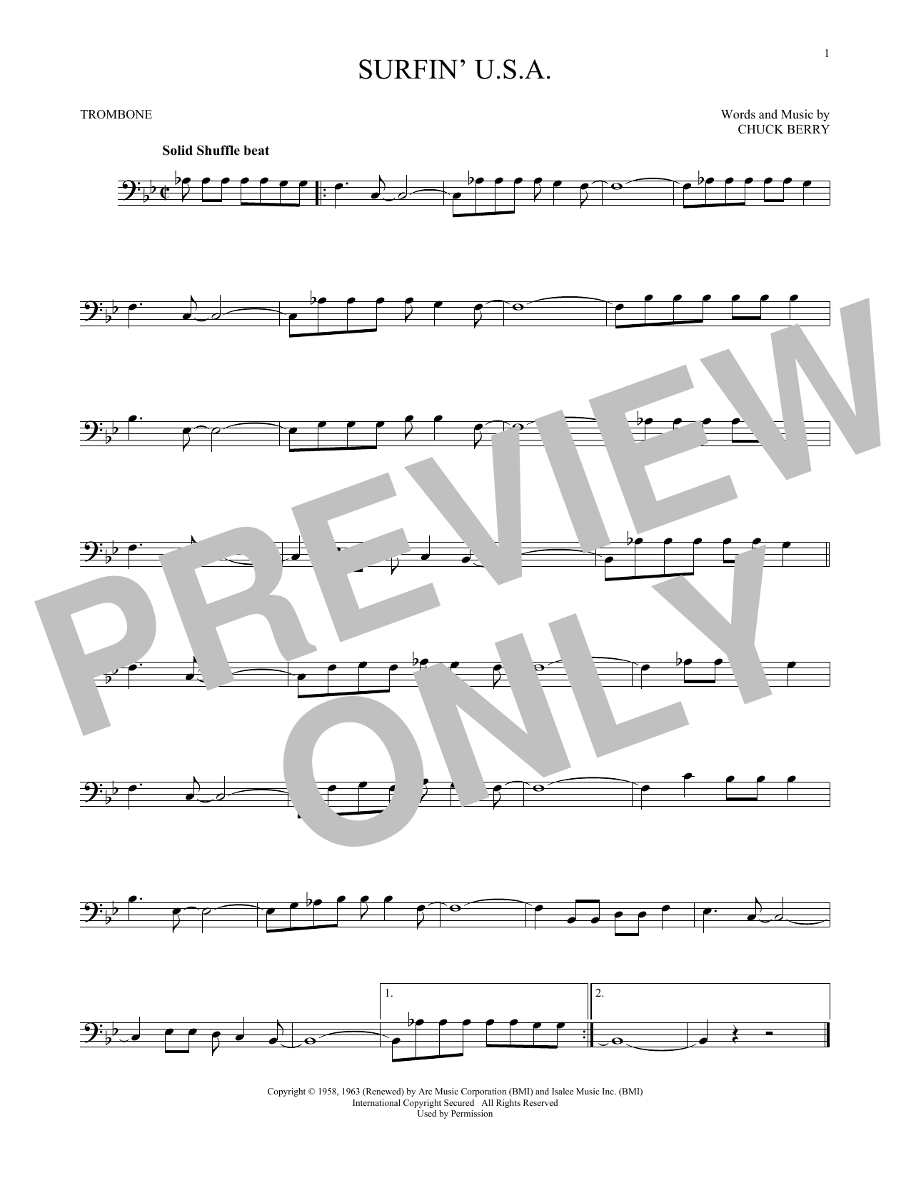 The Beach Boys 'Surfin' U S A ' Sheet Music Notes, Chords | Download  Printable Trombone Solo - SKU: 166952