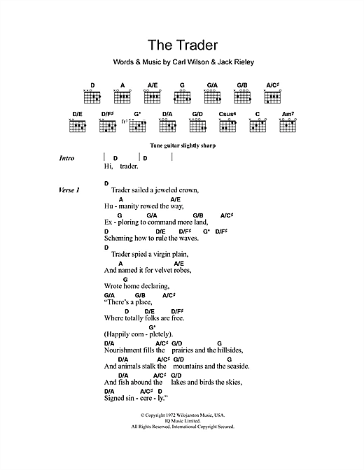 The Beach Boys The Trader sheet music notes and chords. Download Printable PDF.