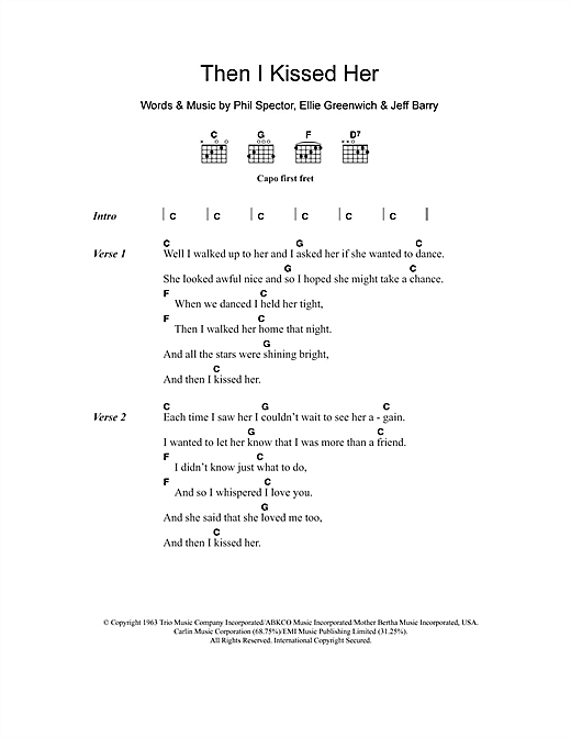 The Beach Boys Then I Kissed Her sheet music notes and chords. Download Printable PDF.