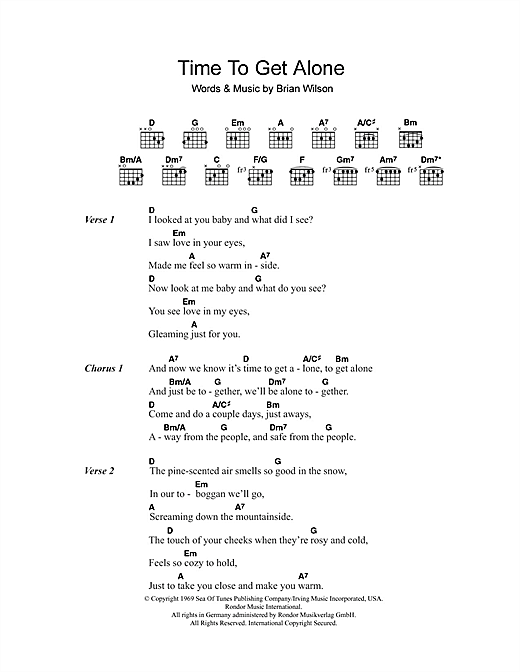 The Beach Boys Time To Get Alone sheet music notes and chords. Download Printable PDF.