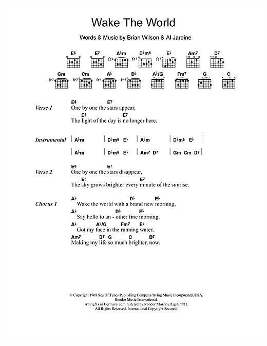 The Beach Boys Wake The World sheet music notes and chords. Download Printable PDF.