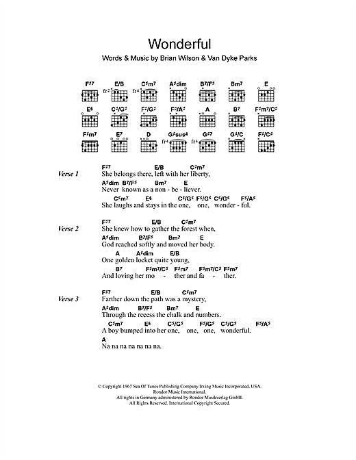 The Beach Boys Wonderful sheet music notes and chords. Download Printable PDF.
