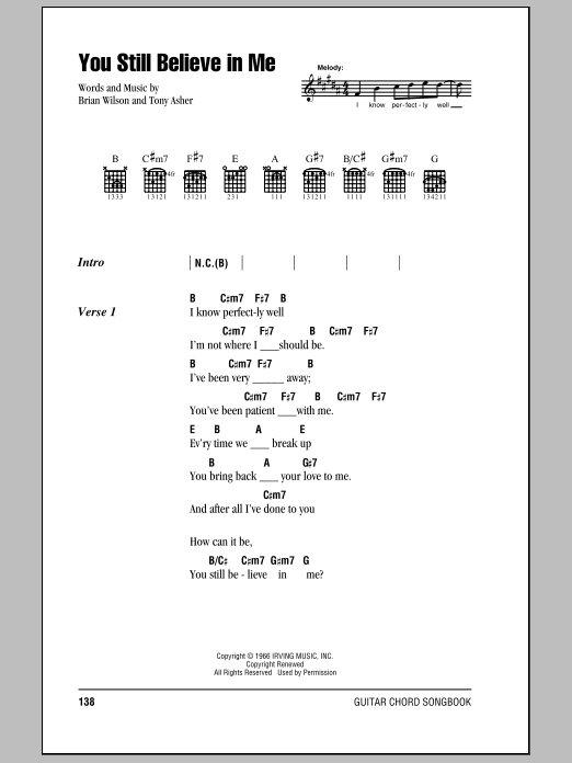 The Beach Boys You Still Believe In Me sheet music notes and chords. Download Printable PDF.
