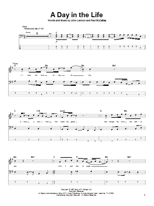 The Beatles A Day In The Life sheet music notes and chords. Download Printable PDF.