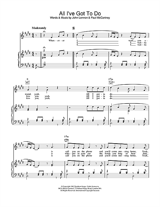 The Beatles All I've Got To Do sheet music notes and chords. Download Printable PDF.