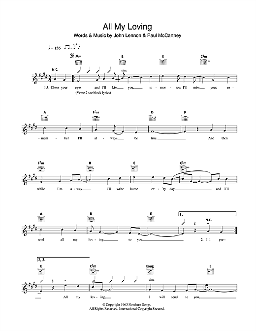 The Beatles All My Loving sheet music notes and chords
