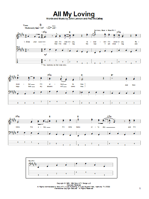 The Beatles All My Loving sheet music notes and chords. Download Printable PDF.