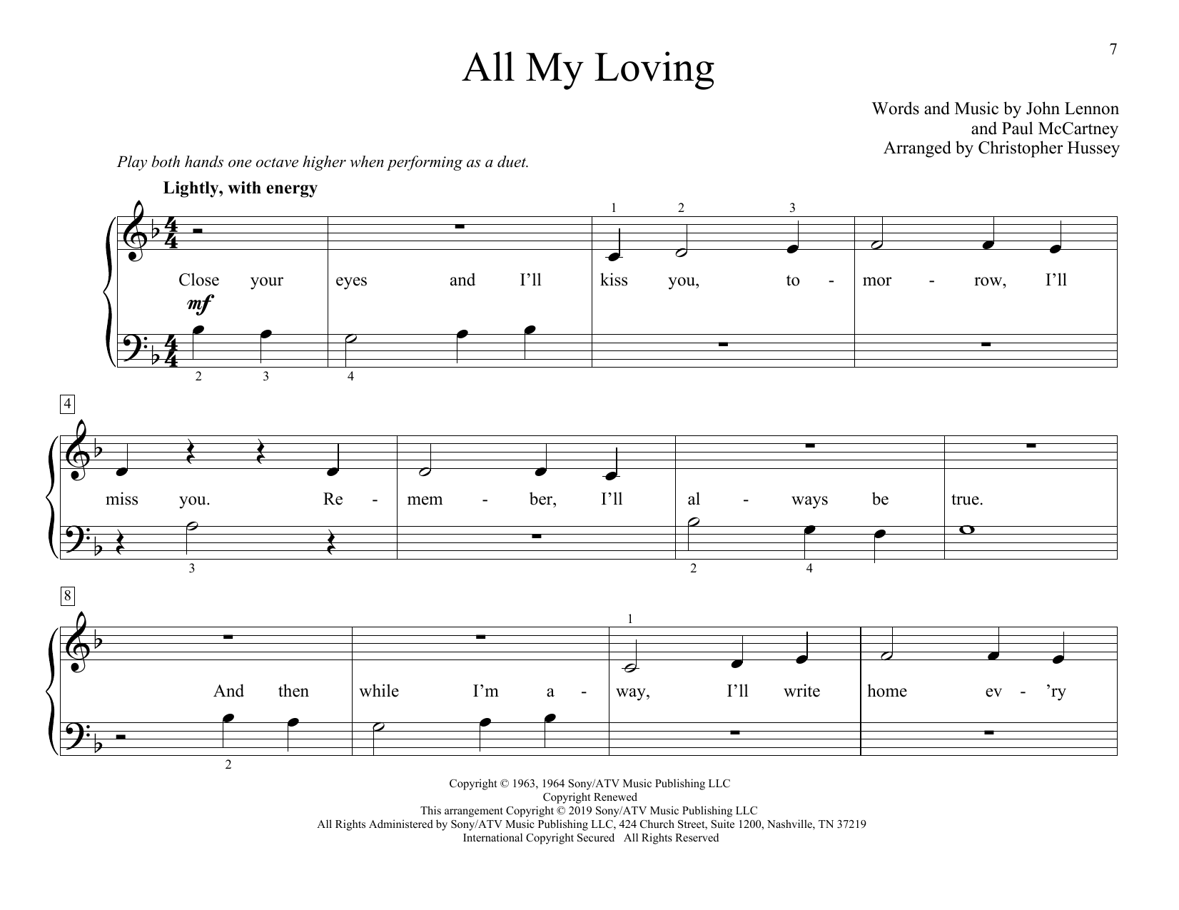 The Beatles All My Loving (arr. Christopher Hussey) sheet music notes and chords. Download Printable PDF.