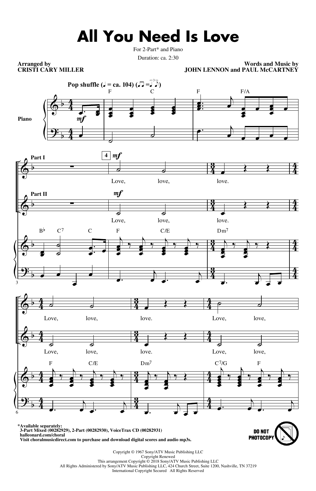 The Beatles All You Need Is Love arr. Cristi Cari Miller Sheet Music  Notes, Chords   Download Printable 15 Part Mixed Choir PDF Score   SKU  4015881
