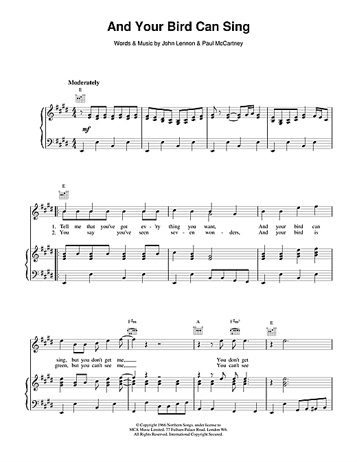 The Beatles And Your Bird  Can Sing sheet music notes and chords