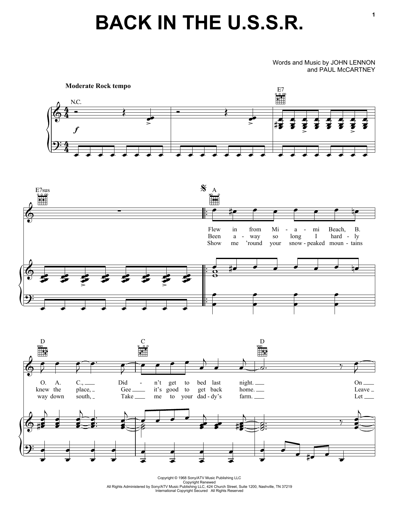 The Beatles Back In The U.S.S.R. sheet music notes and chords. Download Printable PDF.