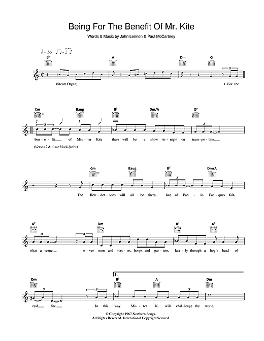 The Beatles Being For The Benefit Of Mr. Kite sheet music notes and chords. Download Printable PDF.