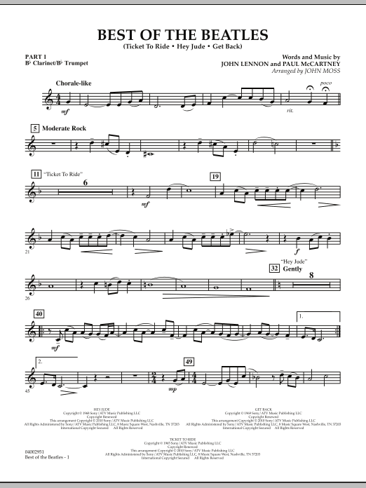 The Beatles Best of The Beatles (arr. John Moss) - Pt.1 - Bb Clarinet/Bb Trumpet sheet music notes and chords. Download Printable PDF.