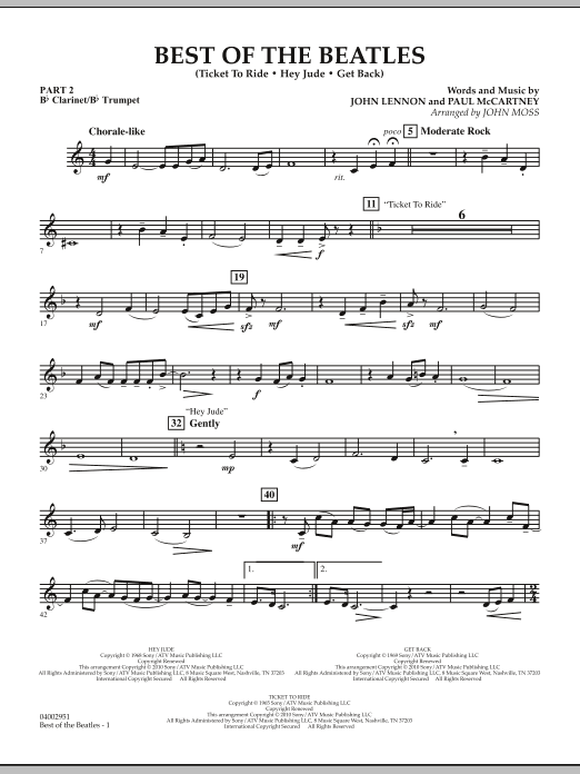 The Beatles Best of The Beatles (arr. John Moss) - Pt.2 - Bb Clarinet/Bb Trumpet sheet music notes and chords. Download Printable PDF.