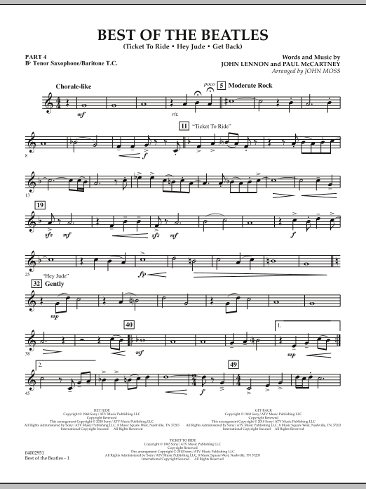 The Beatles Best of The Beatles (arr. John Moss) - Pt.4 - Bb Tenor Sax/Bar. T.C. sheet music notes and chords. Download Printable PDF.
