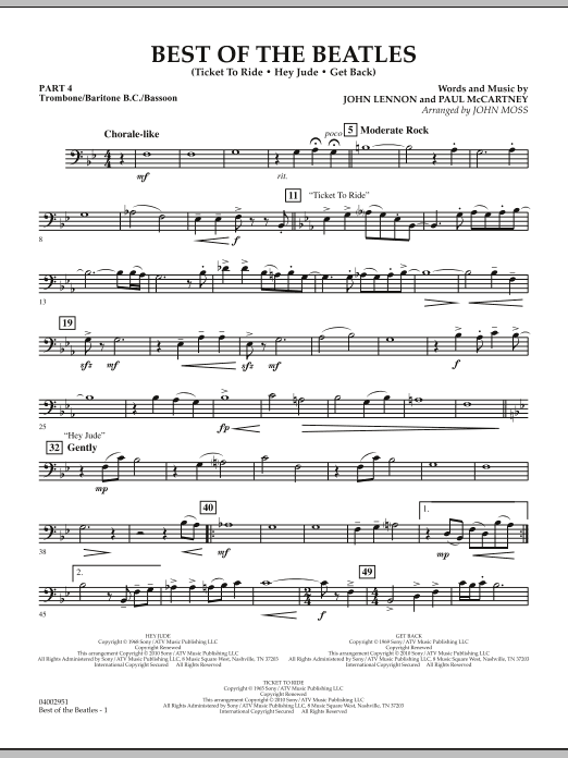The Beatles Best of The Beatles (arr. John Moss) - Pt.4 - Trombone/Bar. B.C./Bsn. sheet music notes and chords. Download Printable PDF.