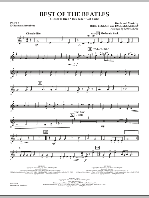 The Beatles Best of The Beatles (arr. John Moss) - Pt.5 - Eb Baritone Saxophone sheet music notes and chords. Download Printable PDF.